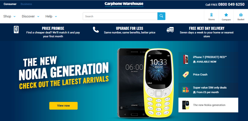 Carphone Warehouse, a UK-based, customer-driven company in the telecom and e-commerce industry.