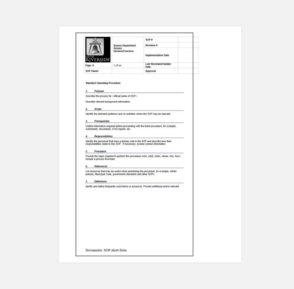 Do You Need a Standard Operating Procedure Template Here Are Over ...